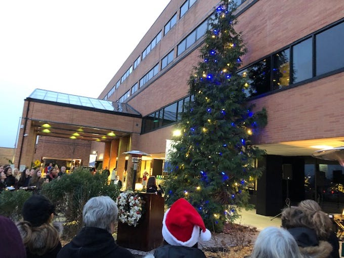The 31st annual Lights of Love tree-lighting ceremony was conducted Wednesday afternoon, Dec. 5, at Hunterdon Medical Center, at 2100 Westcott Drive, Raritan Township. The tree, located outside the hospital's main entrance is illuminated with thousands of shining lights. These lights represent gifts received from donors all over the country to honor or memorialize people who have touched their lives in a special way.  The event  included entertainment provided by The Star Maker School and Crossroads and refreshments. In addition, a holiday cookie sale conducted during the event benefited Briteside Adult Day Center, and the hospital auxiliary had hand-painted ornaments for sale created by The Brushing Violets.