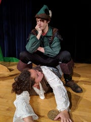 "Trevor Hawkins and Kierra Barthalow in a scene from ""The Somewhat True Tale of Robin Hood"" opening at Ridgewood High School on Thursday."