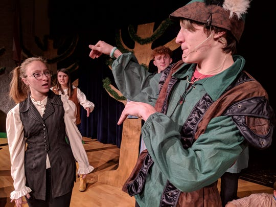 "Waverly Reidenbach, Brianna McConnell, Zade Adkins, Trevor Hawkins rehearse a scene from ""The Somewhat True Tale of Robin Hood"" opening Thursday at Ridgewod High School."