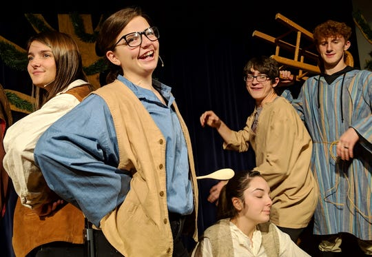 """Brianna McConnell, Jadyn Art, Julia Grimmett, Alex Hershberger and Zade Adkins in a scene from """"The Somewhat True Tale of Robin Hood"""" playing Thursday at Ridgewood High School."""
