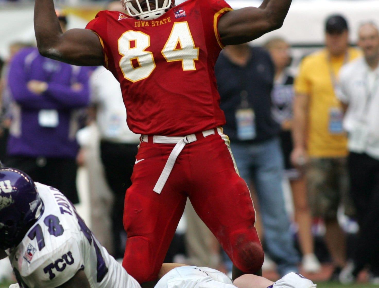 The Cyclones' Jason Berryman celebrates a sack of TCU quarterback Jeff Ballard during the 2005 Houston Bowl.