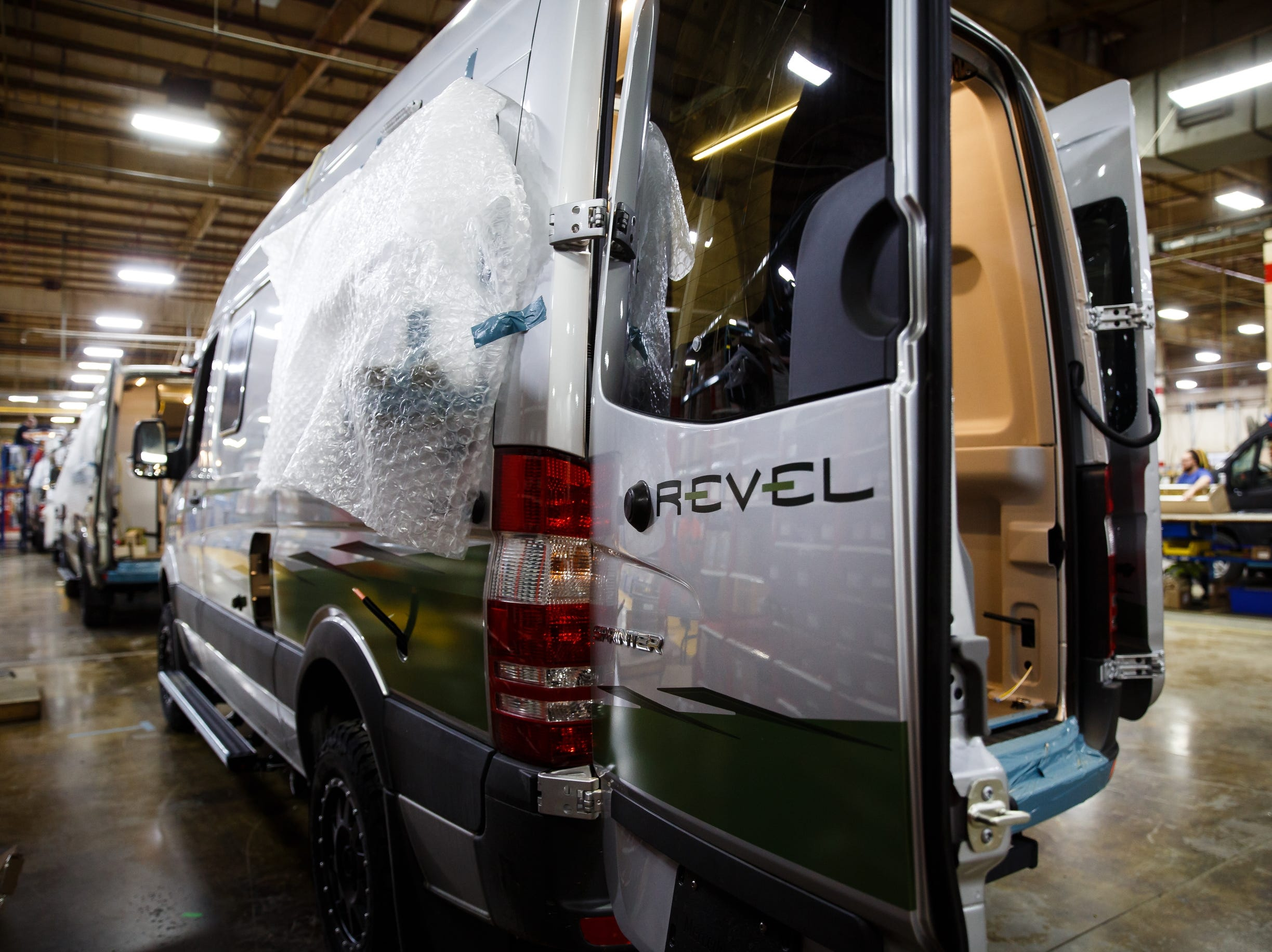 The Winnebago factory in Lake Mills where the new Revel RV is made alongside other Class B RV's on Wednesday, Dec. 5, 2018, in Lake Mills. The Revel, with its 4x4 and rugged nature has sparked the interest of outdoor enthusiasts and has helped the motor home manufacture rebound from poor sales during the recession.