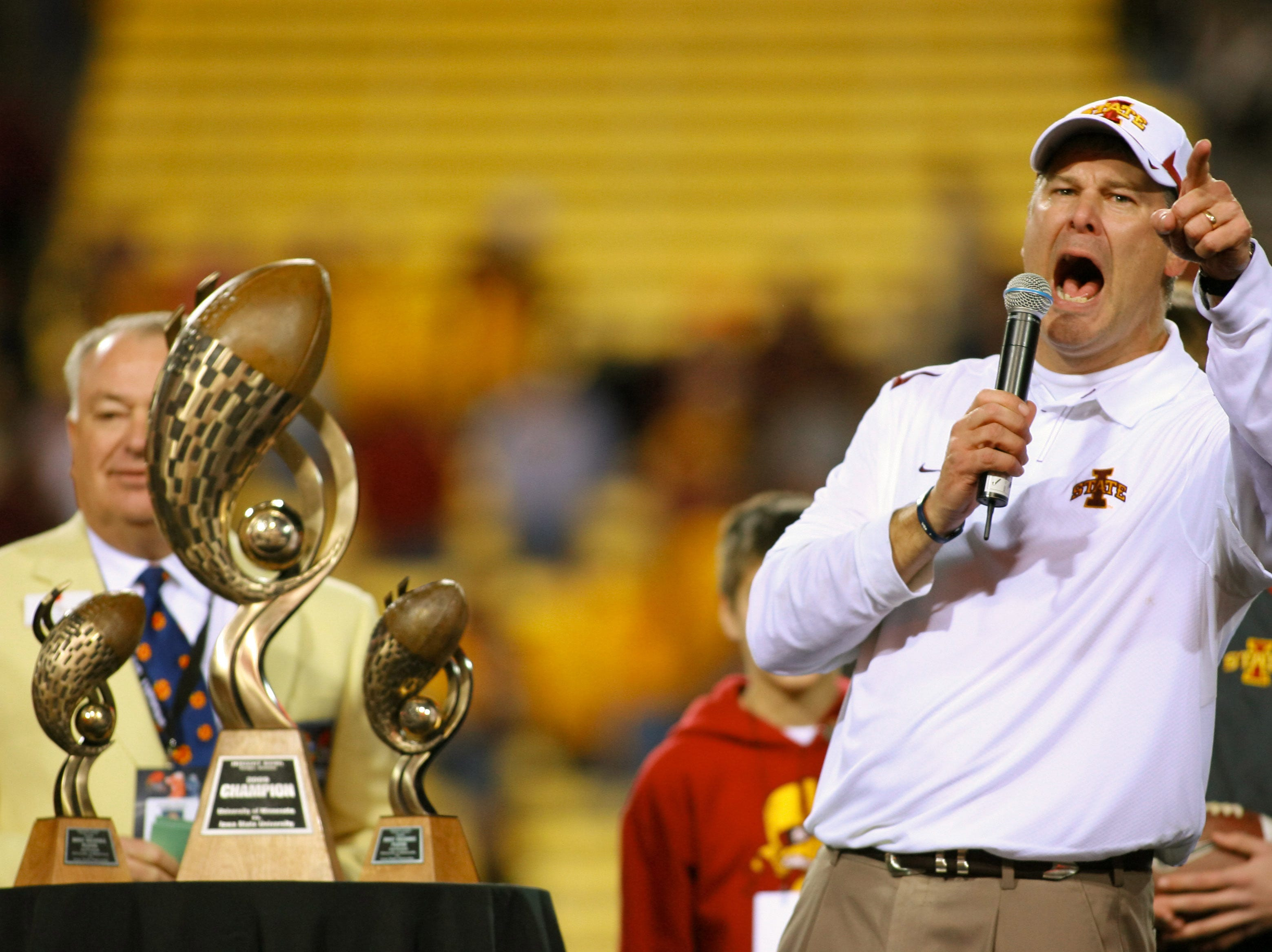 Dec 31, 2009; Tempe, AZ, USA; Iowa State Cyclones head coach Paul Rhoads speaks to the crowd during the trophy presentation of the 2009 Insight Bowl.  The Cyclones defeated the Iowa State Cyclones 14-13 at Sun Devil Stadium.  Mandatory Credit: Chris Morrison-USA TODAY Sports