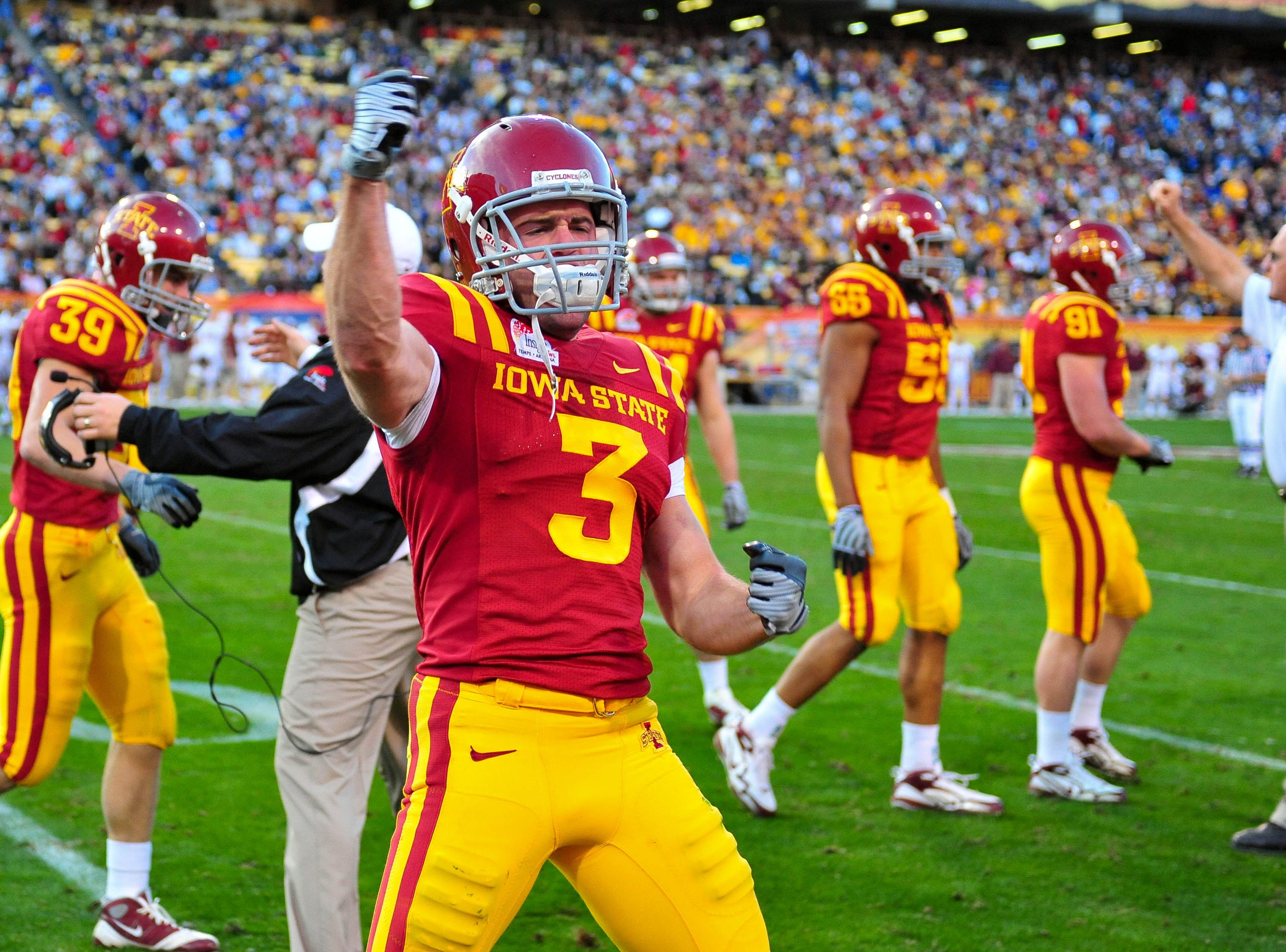 Dec 31, 2009; Tempe, AZ, USA; Iowa State Cyclones cornerback Zac Sandvig (3) celebrates a special teams tackle in the 2nd quarter of a game against the Minnesota Golden Gophers in the 2009 Insight Bowl at Sun Devil Stadium.  Mandatory Credit: Chris Morrison-USA TODAY Sports