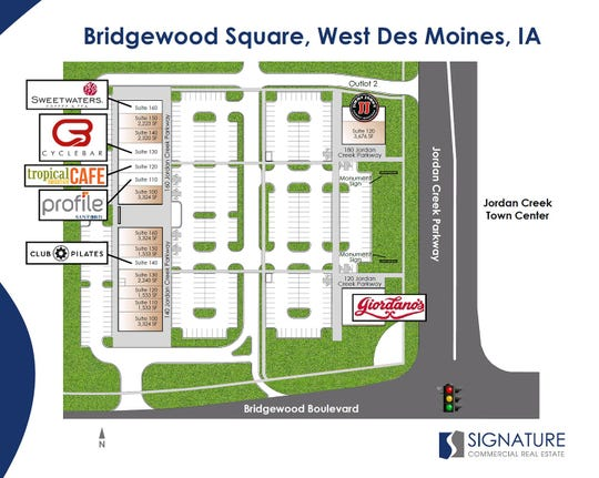 An illustration of the Bridgewood Square development in West Des Moines.