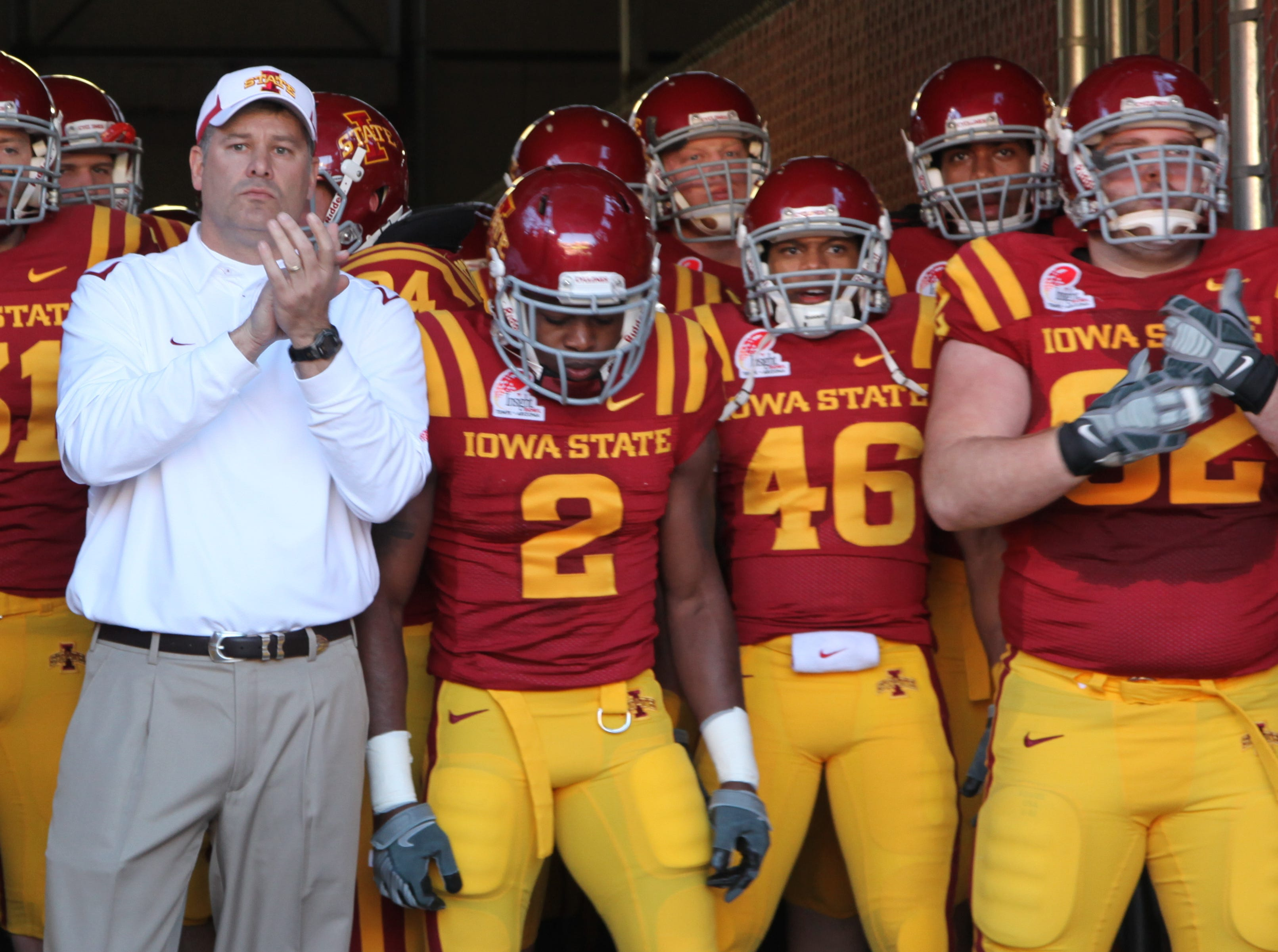 Iowa State Head Coach Paul Rhoads and his team wait in the the tunnel to take the field at the start of the game. Iowa State won 14-13. S0101ISUBowl -Iowa State University played Minnesota in the Insight Bowl in Tempe, Arizona, Thursday, December 31, 2009 at Sun Devil Stadium. (Andrea Melendez/The Register)