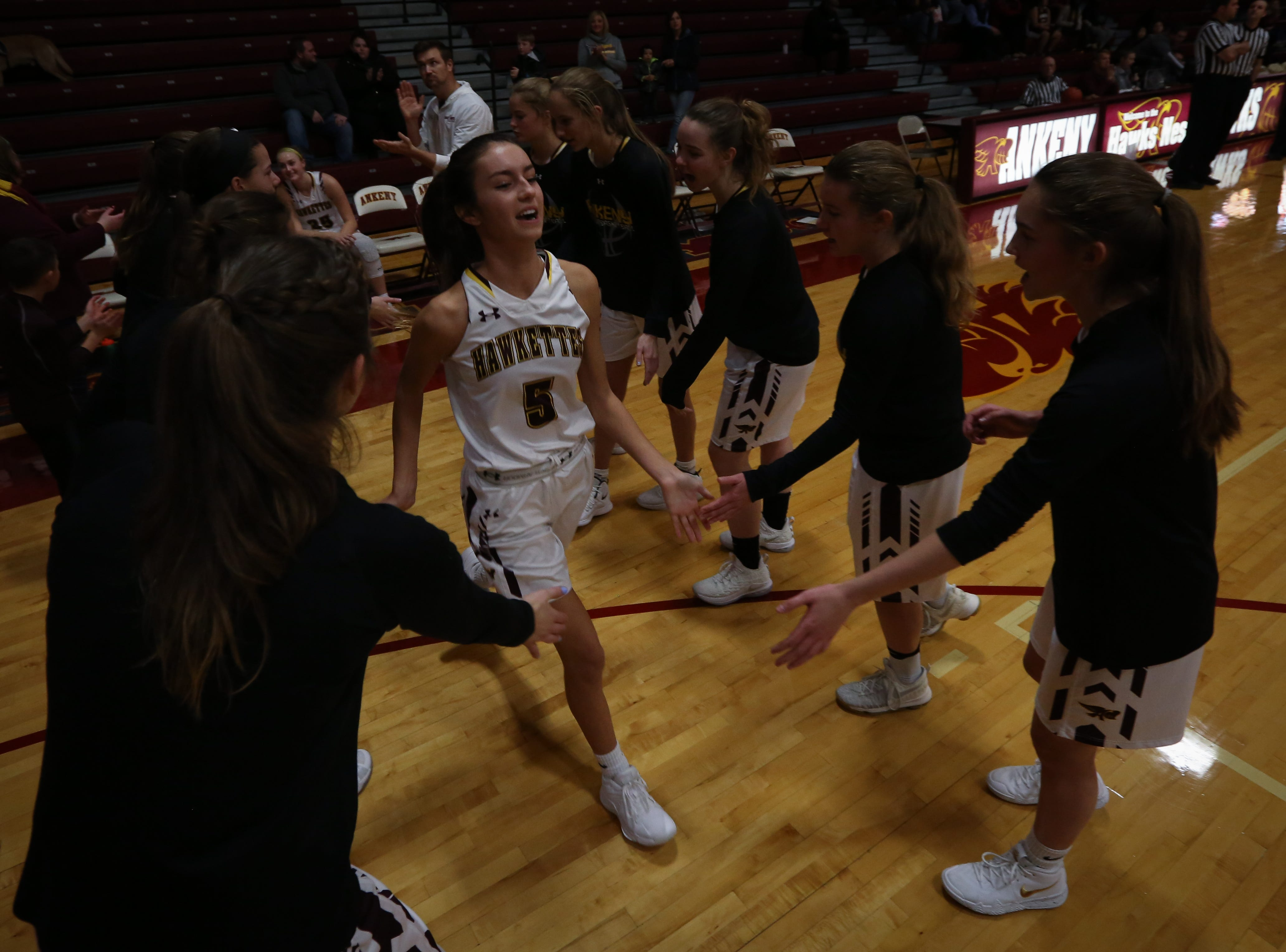 Ankeny junior Kayla Pitz is introduced before a girls high school basketball game between the Lincoln Railsplitters and the Ankeny Hawks at Ankeny High School on Dec. 4, 2018 in Ankeny, Iowa.