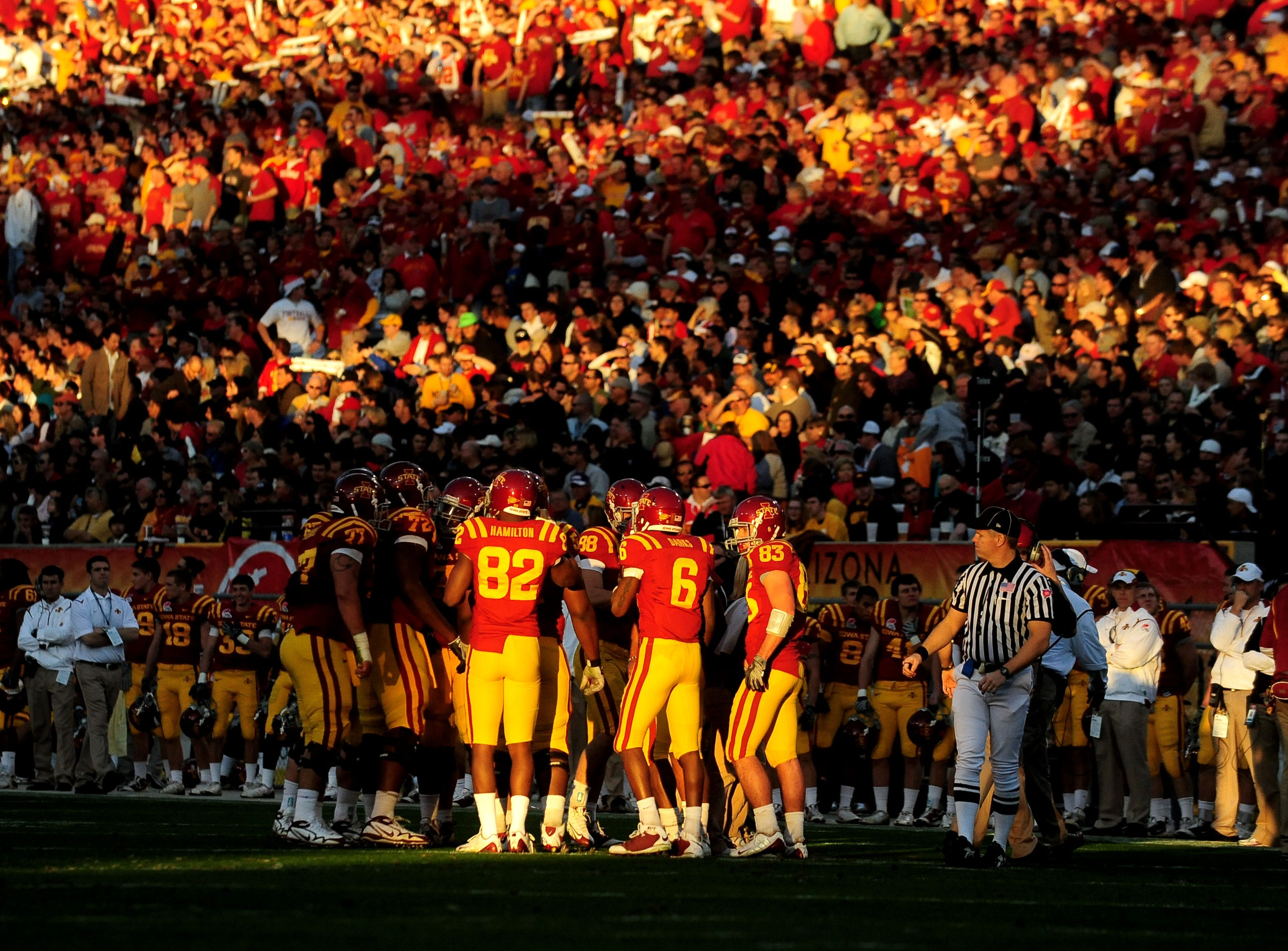 Dec. 31 2009; Tempe, AZ, USA; Iowa State Cyclones players huddle during the second quarter against the Minnesota Golden Gophers in the 2009 Insight Bowl at Sun Devils Stadium. Mandatory Credit: Jennifer Stewart-USA TODAY Sports