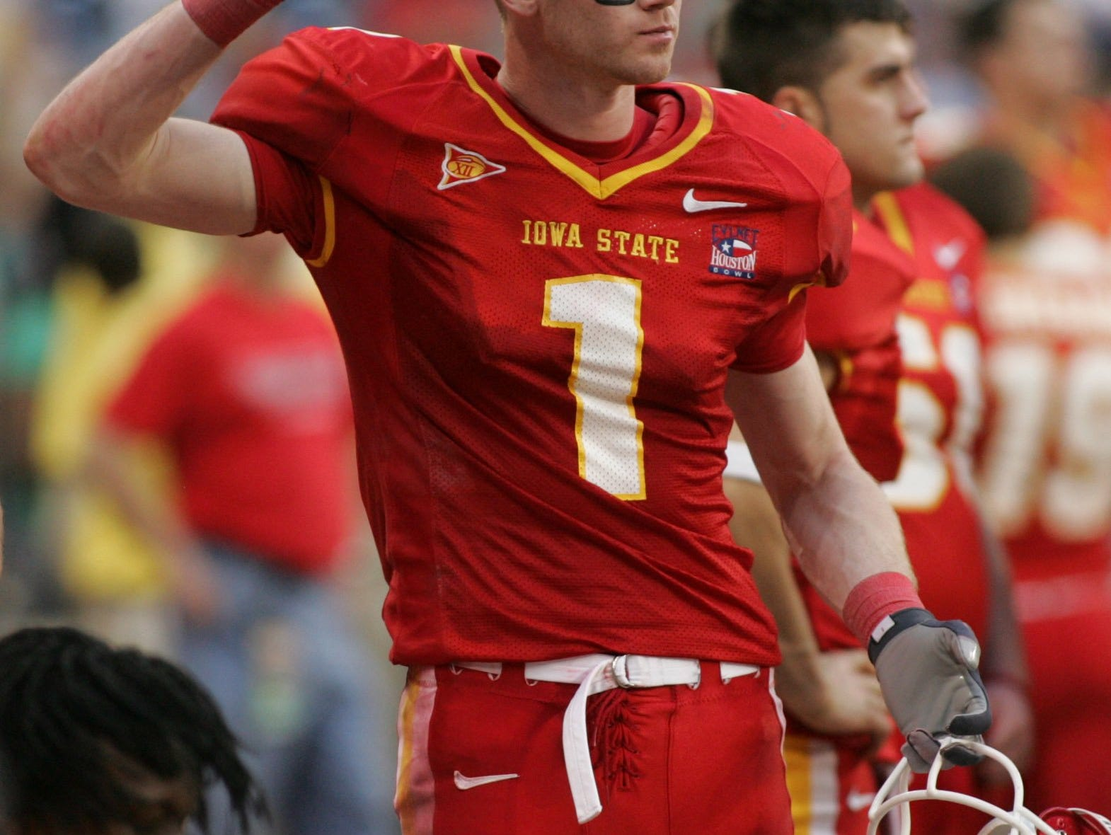 Iowa State wide receiver Todd Blythe, who had two touchdown catches, throws a towel as time runs out on the Cyclones in a 27-24 loss to Texas Christian in the 2005 Houston Bowl.