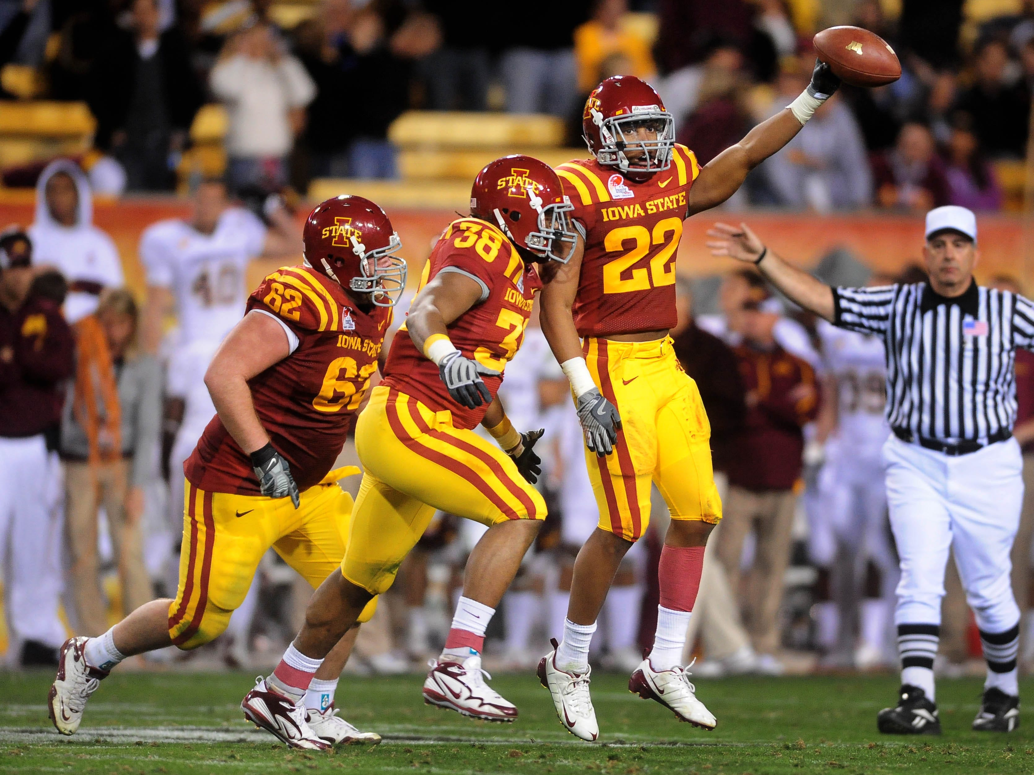 Dec 31, 2009; Tempe, AZ, USA; Iowa State Cyclones defensive back (22) Ter'ran Benton celebrates a fumble recovery against the Minnesota Golden Gophers in the 2009 Insight Bowl at Sun Devil Stadium. Iowa State defeated Minnesota 14-13. Mandatory Credit: Mark J. Rebilas-USA TODAY Sports