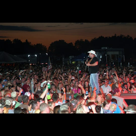 Photographed in 2012: Country singler Chris Cagle performing  at Guthrie's River Ruckus in Guthrie Center, Iowa.