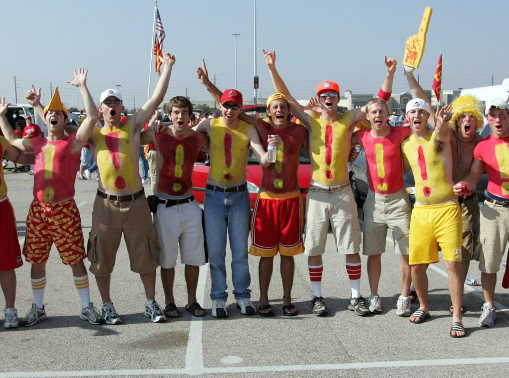 A group of students shows Iowa State pride before the Cyclones' 2005 Houston Bowl game against Texas Christian in Houston, Texas. It was the group's third road trip of the season.