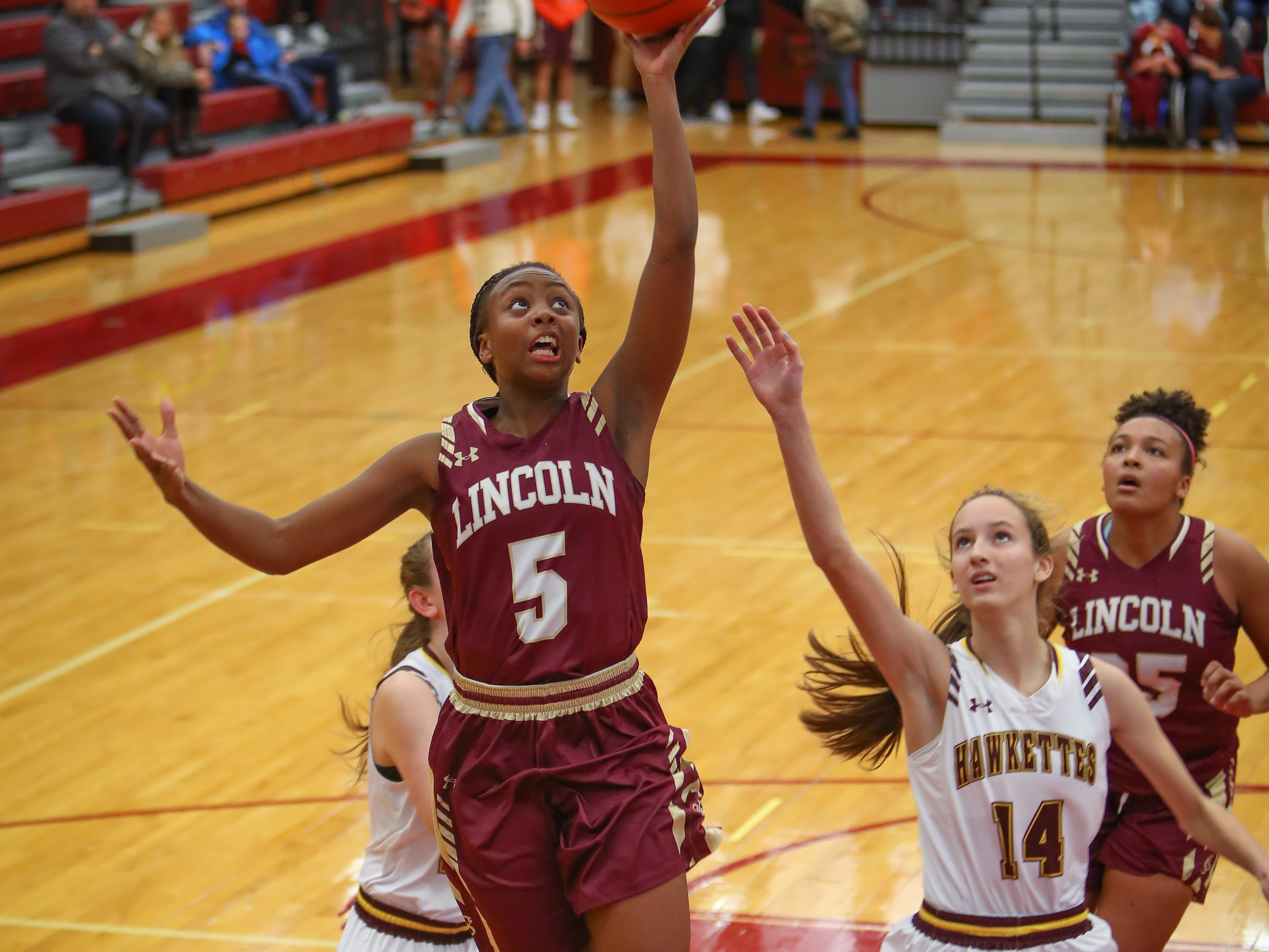 Lincoln freshman Trinity Cheatom goes for a lay-up during a girls high school basketball game between the Lincoln Railsplitters and the Ankeny Hawks at Ankeny High School on Dec. 4, 2018 in Ankeny, Iowa.