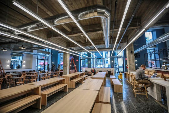 The main dining area of the food hall concept Fort Street Galley restaurant in Detroit, features LED lighting photographed on Thursday, Dec. 6, 2018.