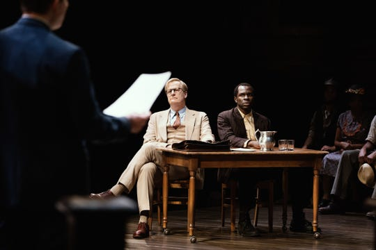 Harper Lee's TO KILL A MOCKINGBIRD, a new play by Aaron Sorkin, starring Jeff Daniels as Atticus Finch, and directed by Bartlett Sher. This photo show actors Jeff Daniels and Gbenga Akinnagbe.