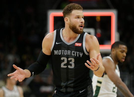 Detroit Pistons' Blake Griffin reacts to a call during the second half against the Milwaukee Bucks, Wednesday, Dec. 5, 2018, in Milwaukee.