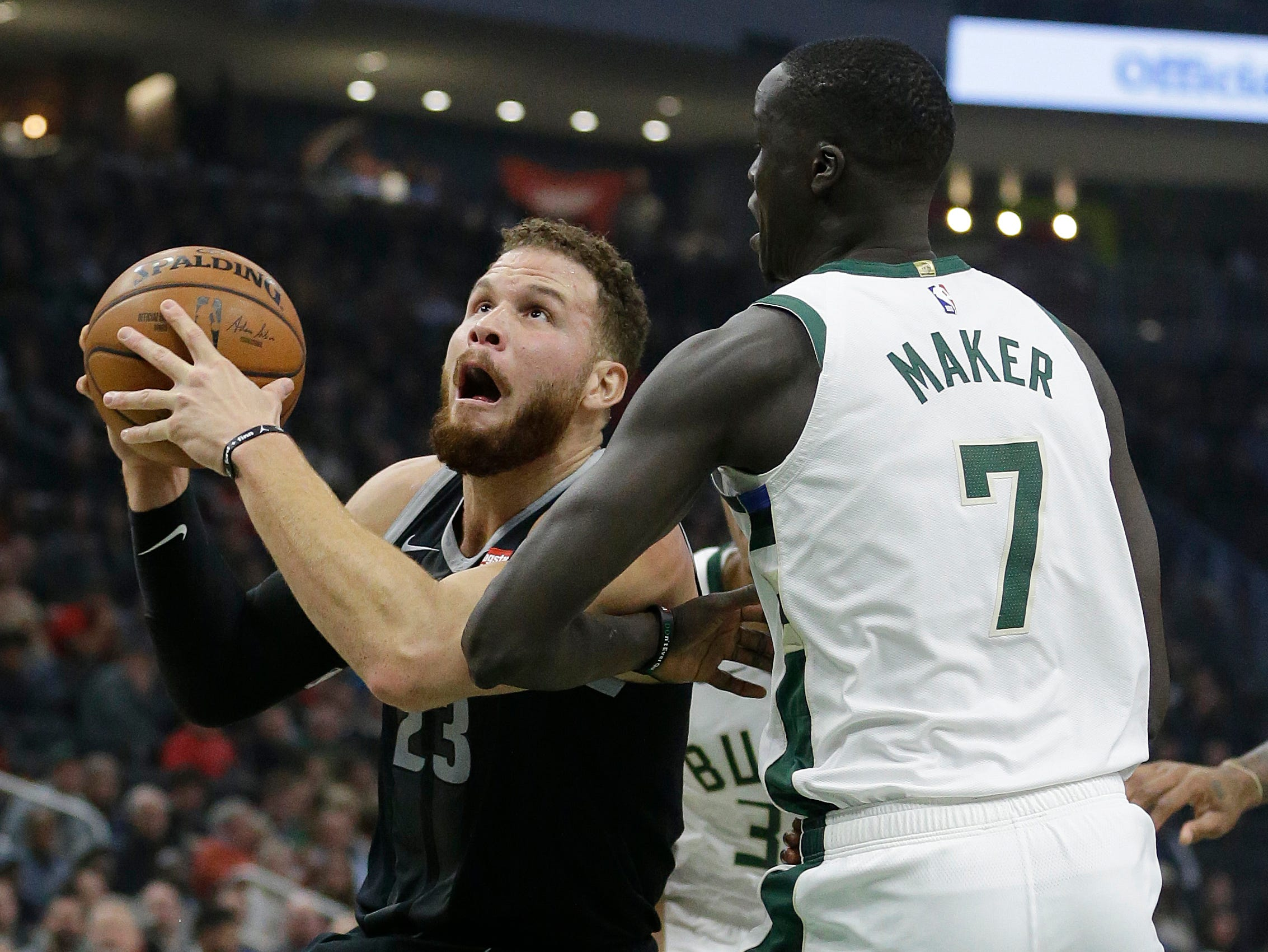 Detroit Pistons' Blake Griffin drives against Milwaukee Bucks' Thon Maker during the first half Wednesday, Dec. 5, 2018, in Milwaukee.