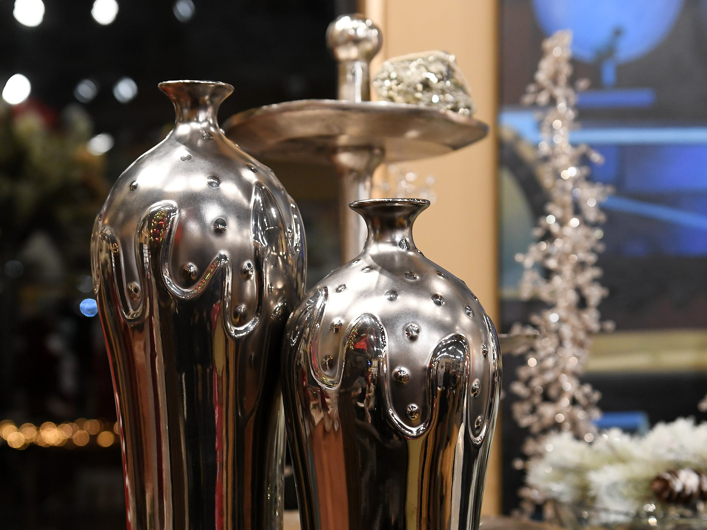 Ideas for a buffet table decor with a metallic theme created by Chef Omar Mitchell of Craft Creative Catering.