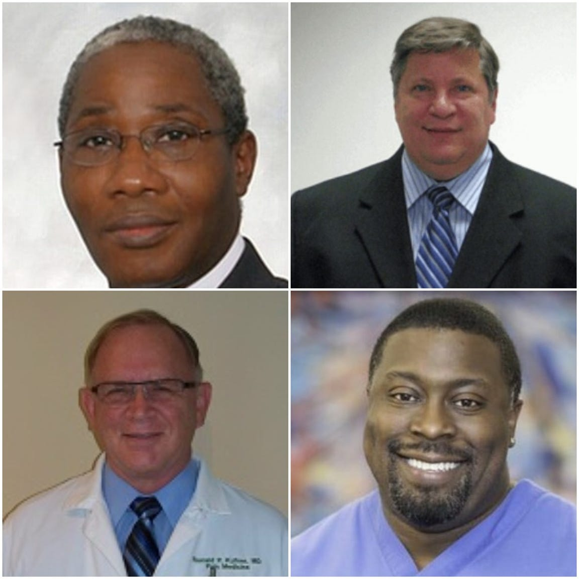 Five other Pain Center USA doctors were charged alongside Dr. Rajendra Bothra in December. Those indicted include Clockwise from left: Dr. Ganiu Edu, Dr. Eric Backos, Dr. David Lewis and Dr. Ronald Kufner.