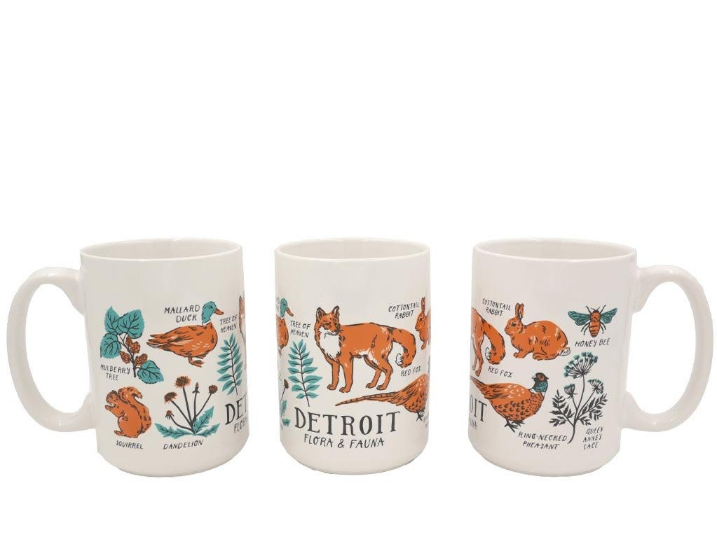 City Bird's Detroit Flora & Fauna mugs ($12) features 10 flora and fauna common to Detroit, including fox, deer and mallard ducks.