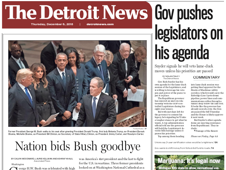 The front page of The Detroit News on Thursday, December 6, 2018.