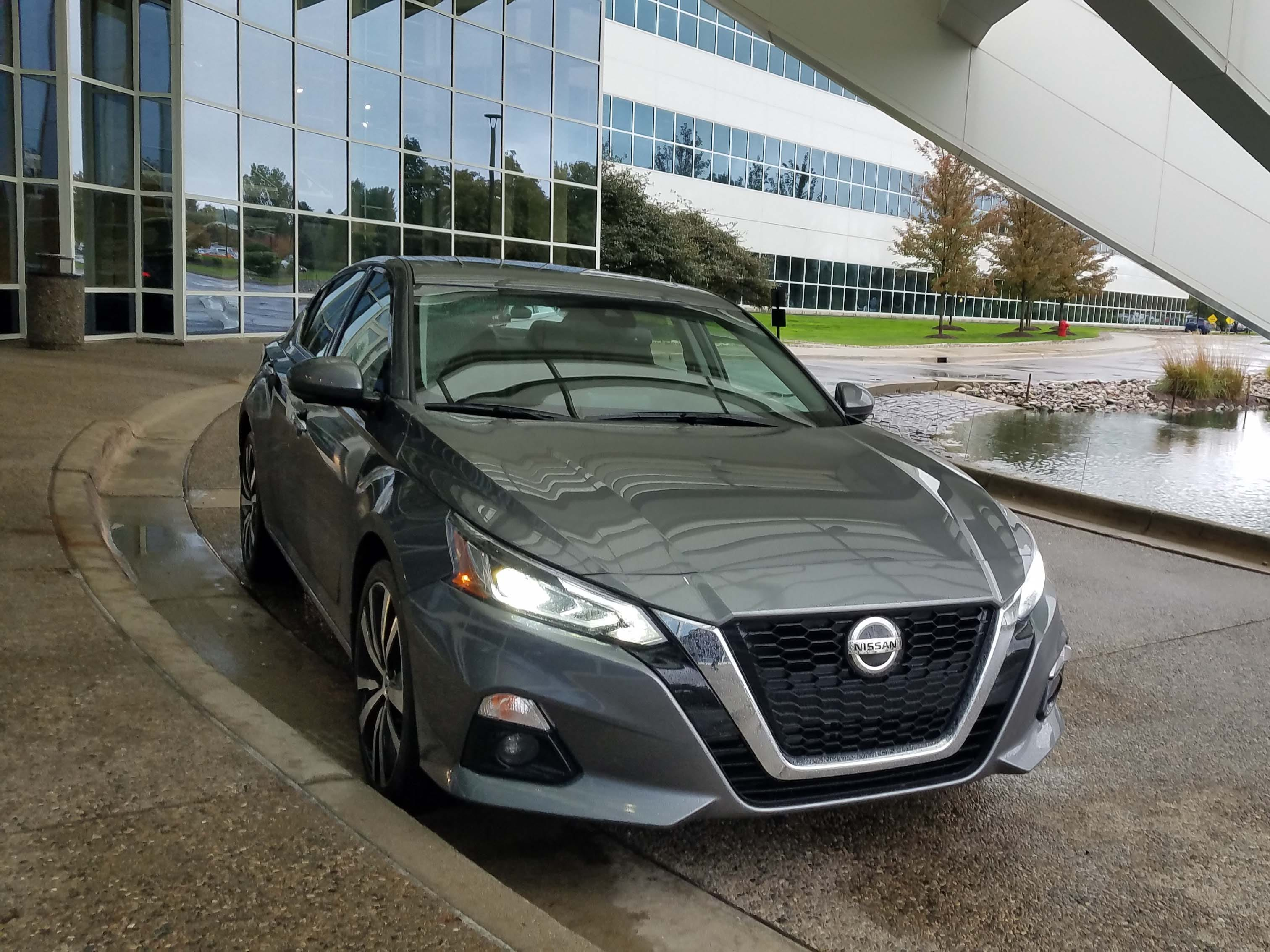 The 2019 Altima pictured at Nissan's Farmington Hills tech center —  the car is made in Tennessee and exported around the world.