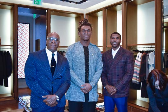 Terrance Deas, from left, Ziggy Ansah, Taurian Washington at Burberry in Somerset Collection.