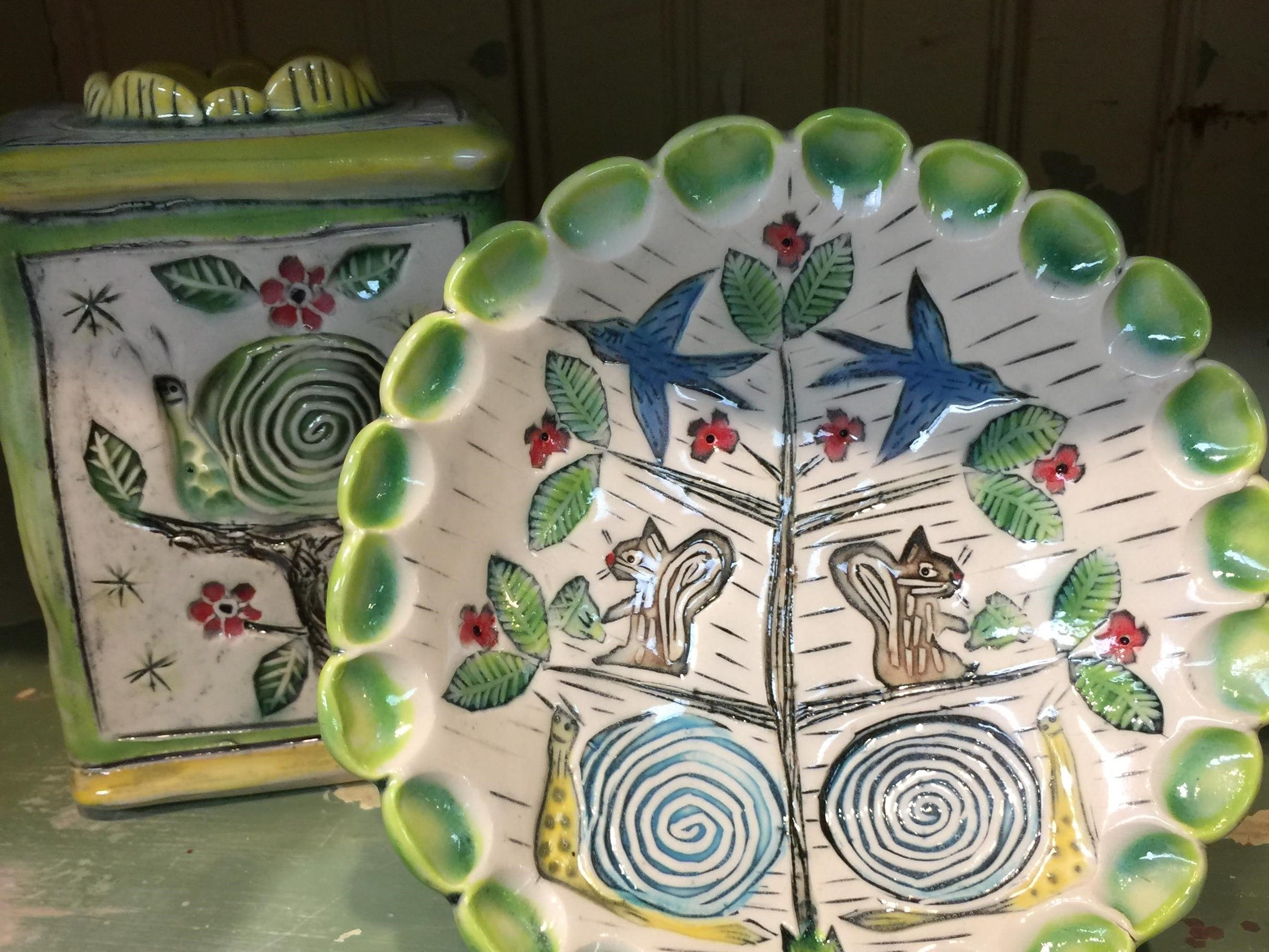 Marna McGlinn Ceramics at the Yellow Door Art Market in Berkley ooze a sense of fun and whimsy.