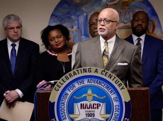 Wayne County Executive Warren Evans gives his remarks during the Detroit Branch NAACP news conference on Thursday, December 6, 2018 to unveil a blue ribbon committee for the 110th National NAACP Convention, which Detroit will host in 2019.