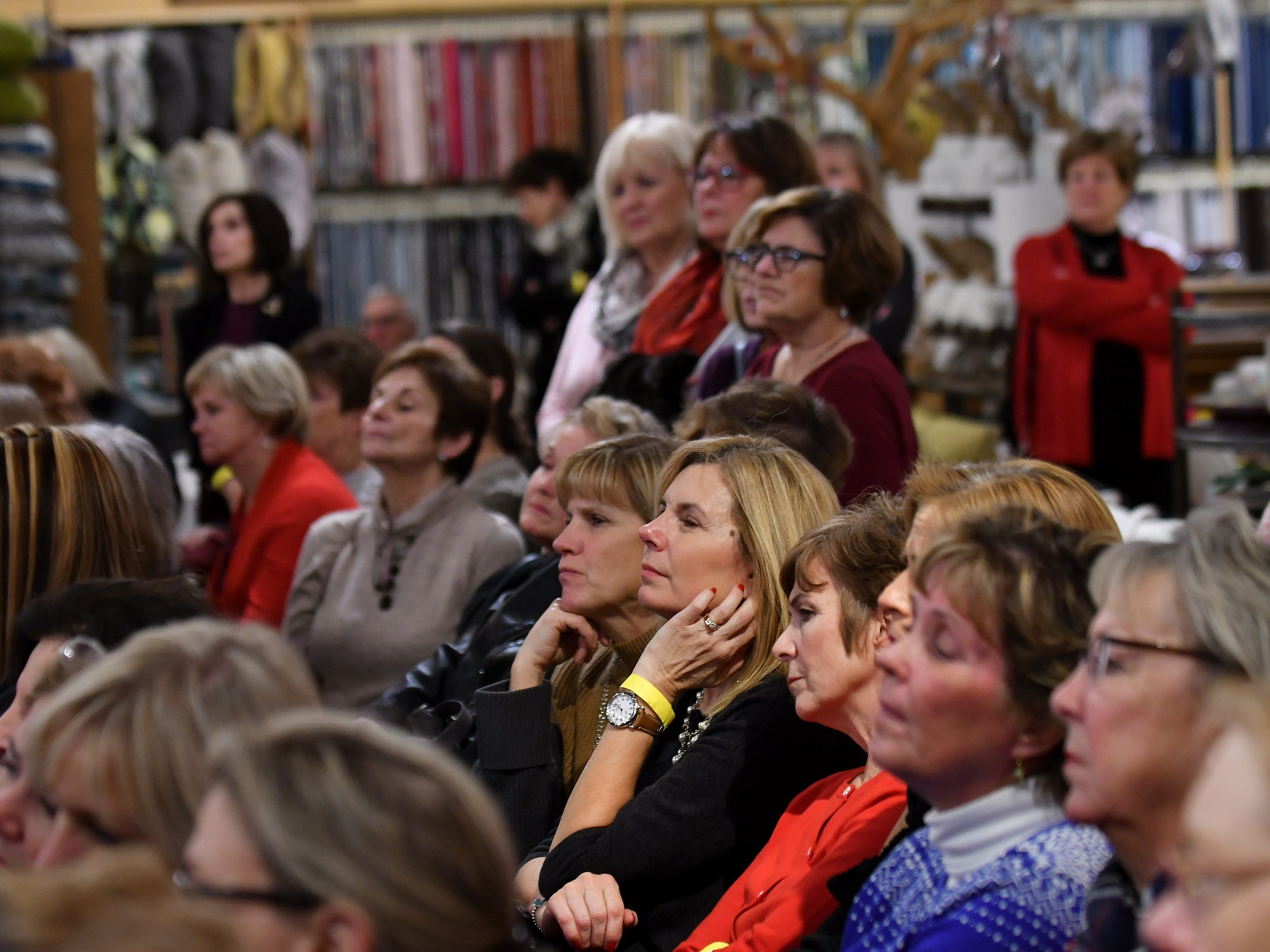 Attendees listen to the presentation by Jeffrey Jucewicz of Jeffrey Floral Architecture at the Home for the Holidays installment of the Detroit News Dish and Design event at Leon & Lulu in Clawson, Mich. on Dec. 5, 2018.   