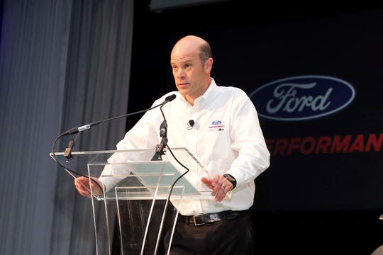 At Ford Performance Day in Dearborn, Ford Performance boss Mark Rushbrook celebrates the team's five 2018 championships from NASCAR to IMSA to Rally racing.