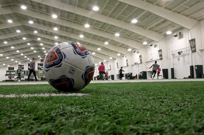 The Michigan State men's soccer team practices for its upcoming College Cup appearance. Practice was at the Duffy Daugherty Building in East Lansing on Tuesday, Dec. 4, 2018.