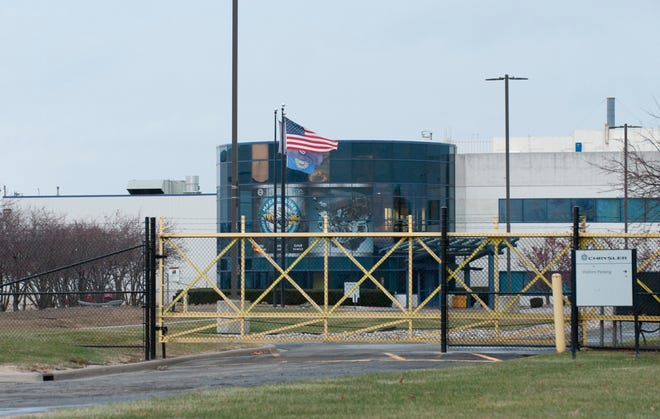 The entrance to Fiat Chrysler Automobiles' Mack Avenue Engine plant in Detroit is seen on Thursday.  FCA plans to convert the idle Mack Avenue Engine II, idle since 2012, as an assembly plant to build a new three-row Jeep Grand Cherokee for the model year 2021.
