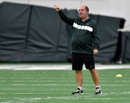Michigan State coach Damon Rensing watches over his team during practice this week.