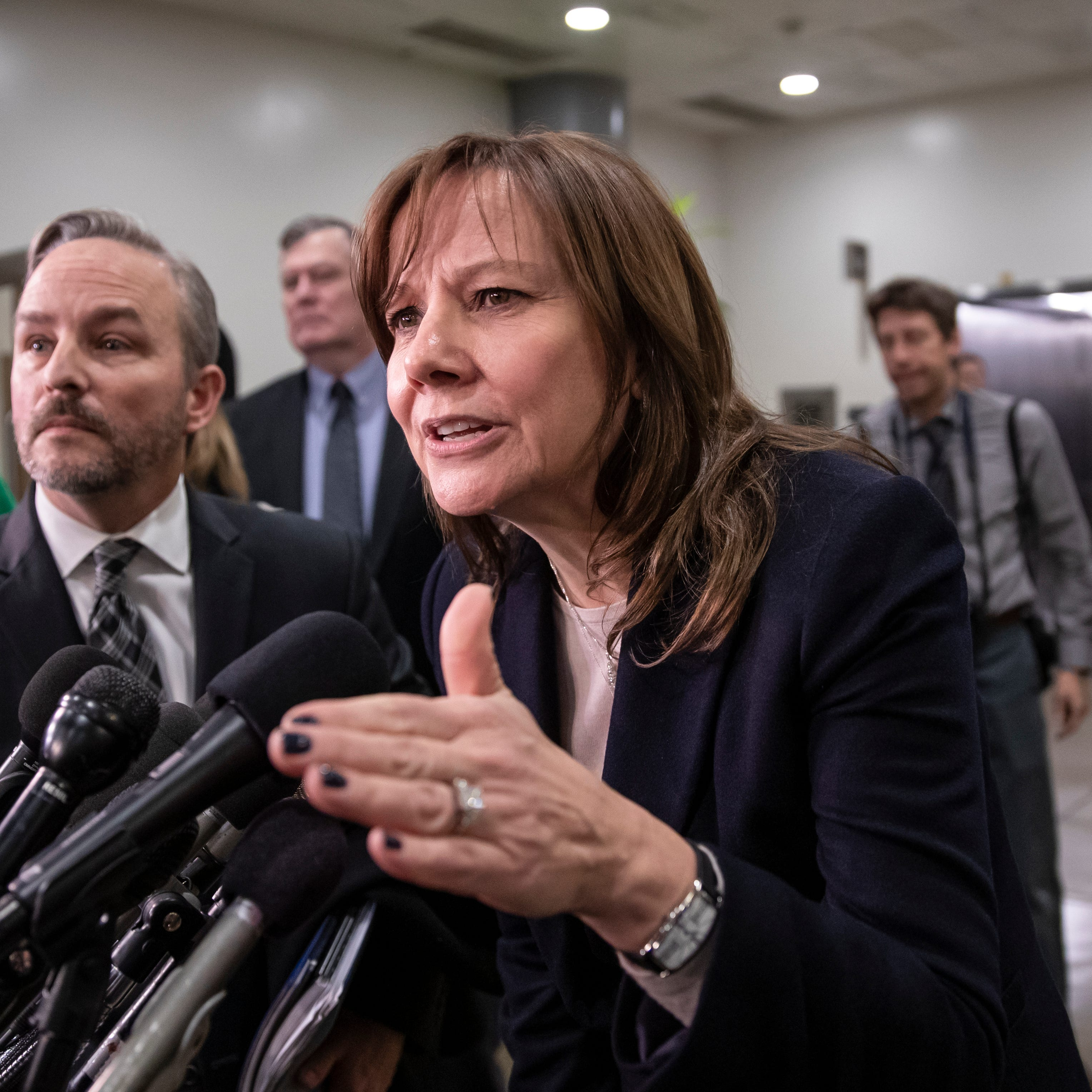 General Motors CEO Mary Barra speaks to reporters after meeting with the Michigan congressional delegation to discuss plans for the massive restructuring by the Detroit-based automaker, on Capitol Hill in Washington, Thursday, Dec. 6, 2018.