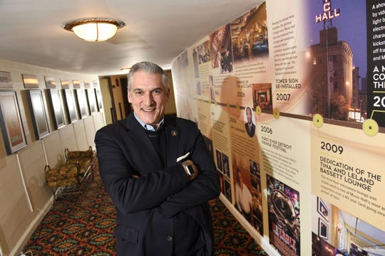 Vince Paul, executive director, stands in the Hall of Decades at the Detroit Music Hall which celebrates their  90th anniversary on Sunday as they open their new historical museum. Paul, gave a tour of the museum in