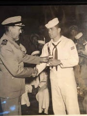 Bob Dallas (right) went into the Navy after graduating from Southern Illinois University, then launched a legendary career at Ridgway and Gallatin County.
