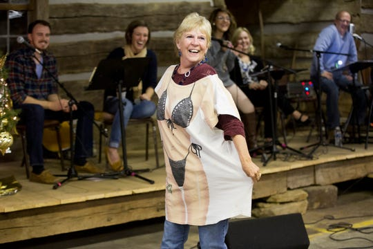 Scott's mother, Patty Saalman of Jasper, Ind., made a surprise appearance modeling a bikini T-shirt during the 98th Will Read and Sing For Food show Nov. 20, 2016, at the Dubois County Museum in Jasper.