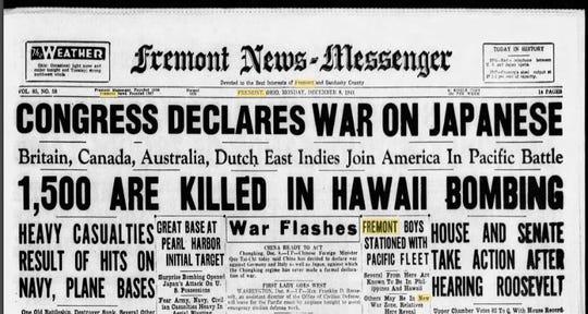 Fremont News-Messenger front page of Dec. 8, 1941.