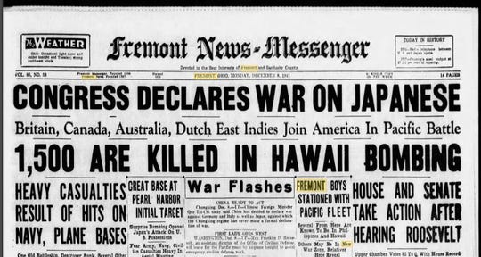 Fremont News-Messenger front page of Dec. 8, 1941.