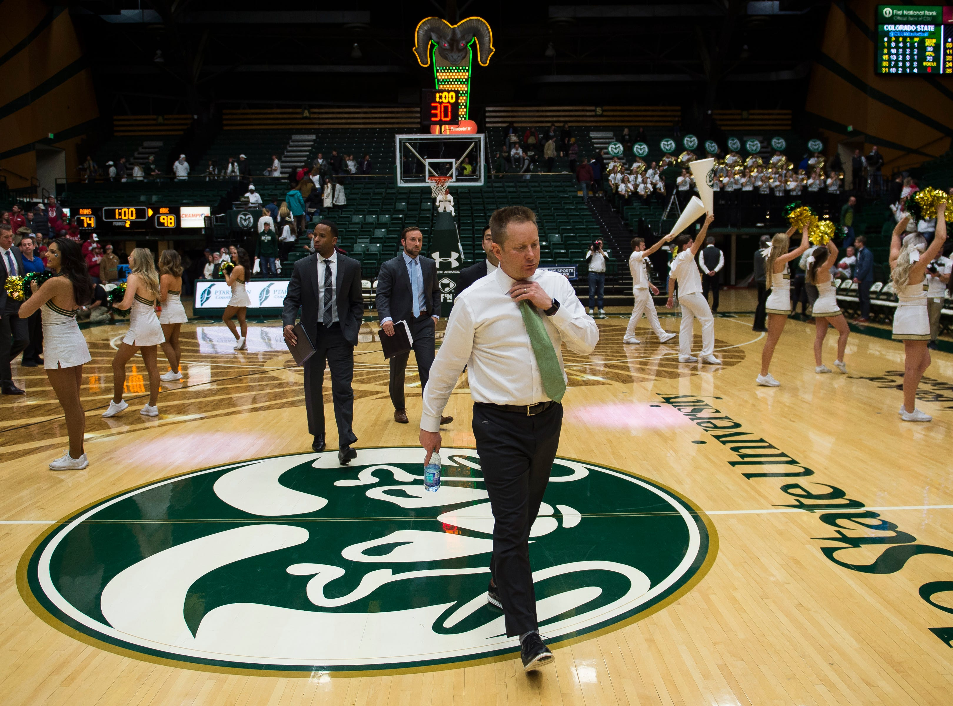 Colorado State University head coach Niko Medved walks to the tunnel after a loss to Arkansas on Wednesday, Dec. 5, 2018, Moby Arena in Fort Collins, Colo.