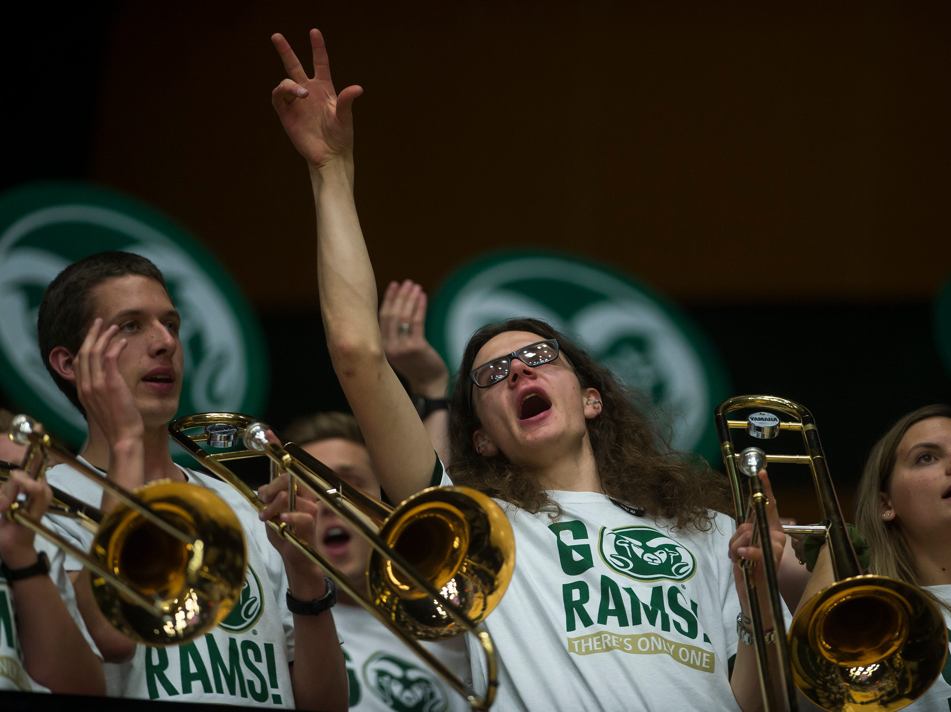 The Colorado State University band sings during a gam against Arkansas on Wednesday, Dec. 5, 2018, Moby Arena in Fort Collins, Colo.