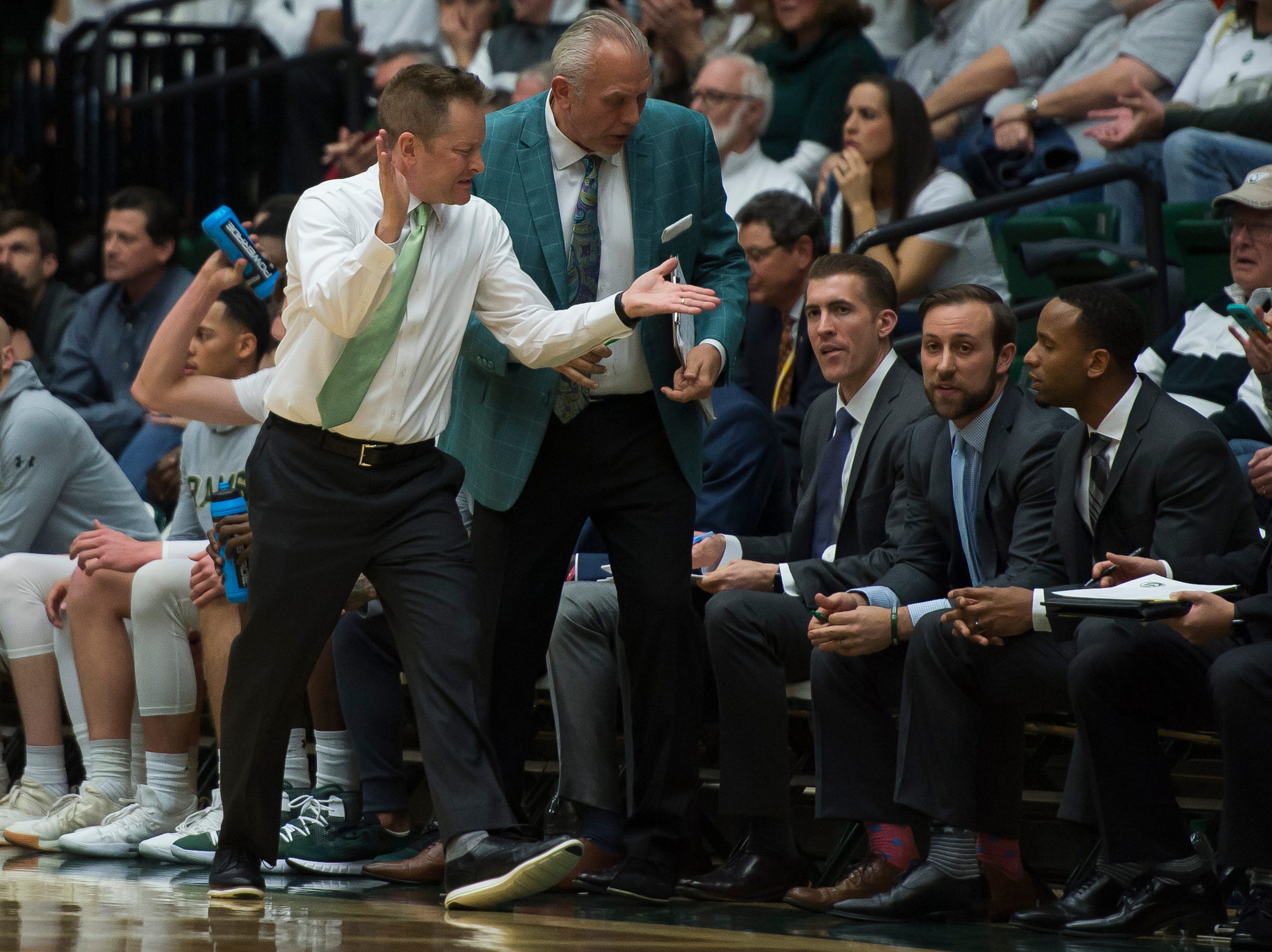 Colorado State University head coach Niko Medved reacts during a game against Arkansas on Wednesday, Dec. 5, 2018, Moby Arena in Fort Collins, Colo.