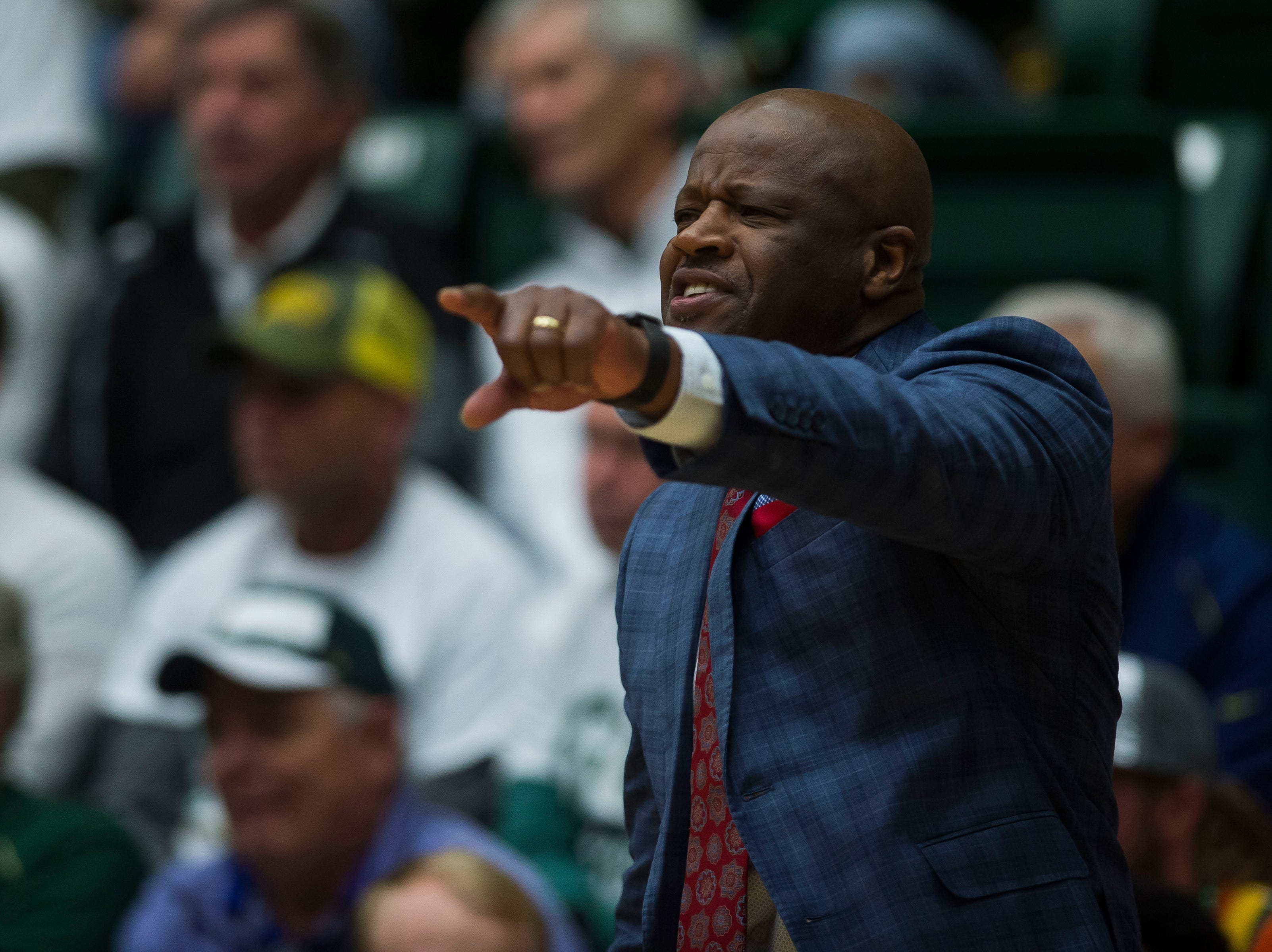 Arkansas head coach Mike Anderson reacts during a game against Colorado State University on Wednesday, Dec. 5, 2018, Moby Arena in Fort Collins, Colo.