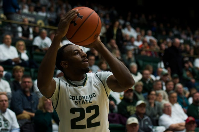 Senior guard J.D. Paige, shown during a Dec. 5 game against Arkansas, and his CSU men's basketball teammates will play a home game at 7 p.m. Tuesday at Moby Arena against Air Force.