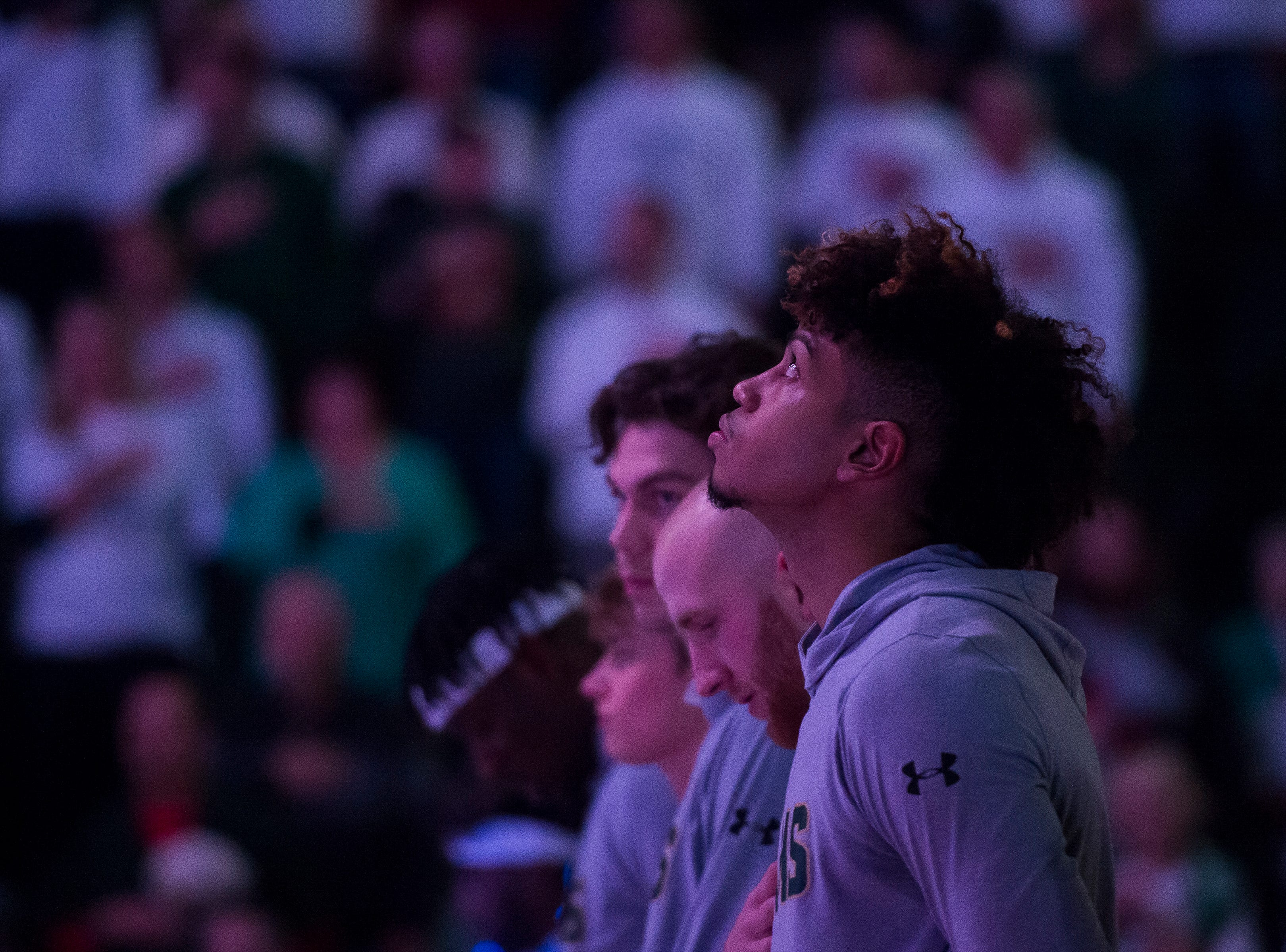 Colorado State University junior guard Lorenzo Jenkins (13) looks up during the Start Spangled Banner before a game against Arkansas on Wednesday, Dec. 5, 2018, Moby Arena in Fort Collins, Colo.