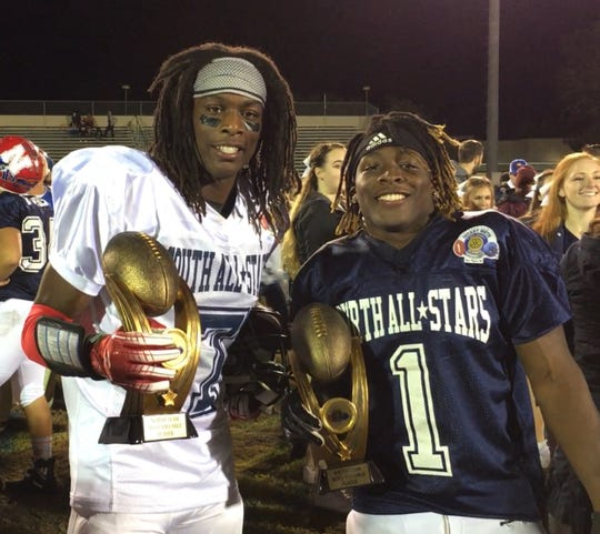 South Fort Myers High's Freddie Ward, left, and Riverdale's Quantavius Brown won MVP honors for the South and North squads, respectively, in the 30th Rotary South All-Star Classic Wednesday, Dec. 5, 2018, at Fort Myers High School. The South squad won 40-14.