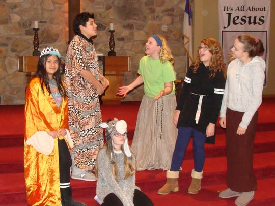 "Zeno McCarthy plays Joseph while his friends are played by Britney Wanless, Grace Rockwell, Briana Barganz, Ellie Starr and Addison Kluge in Rogue Theater's production of ""Let's Tell the Story."""