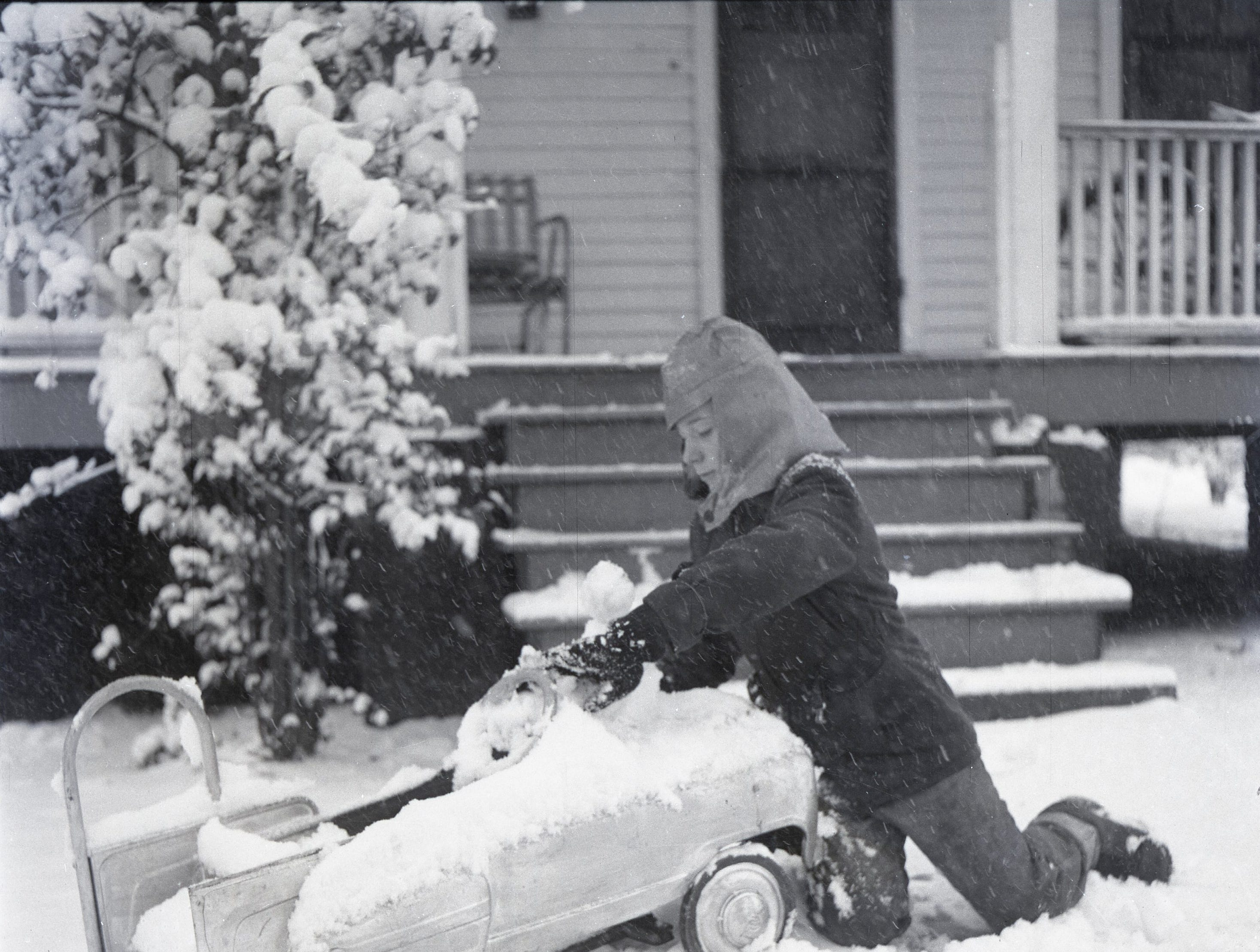 Snow blanked Greenville in the winter of 1958.