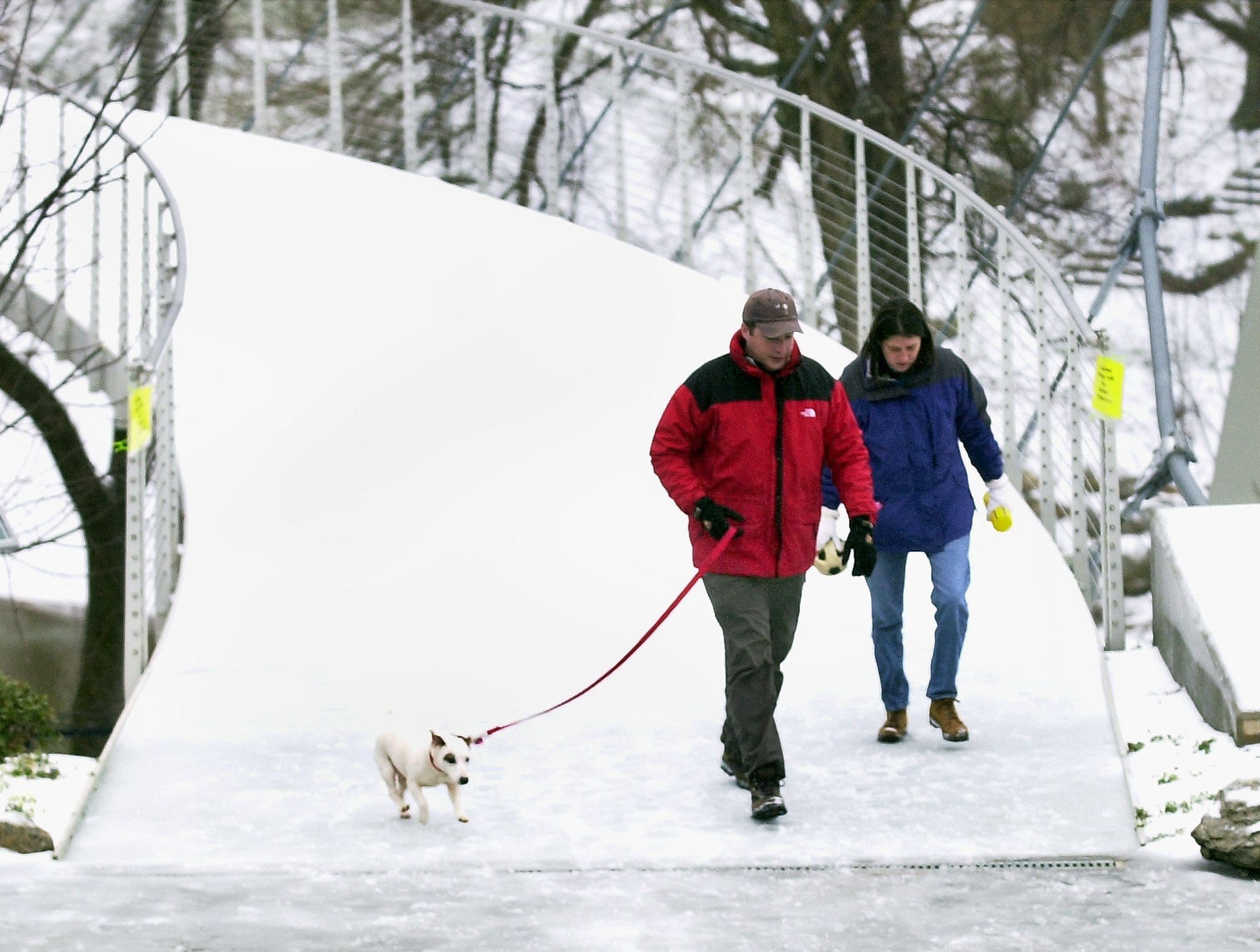 A couple crosses the snow and ice covered Liberty Bridge with their dog in tow January 29, 2005.